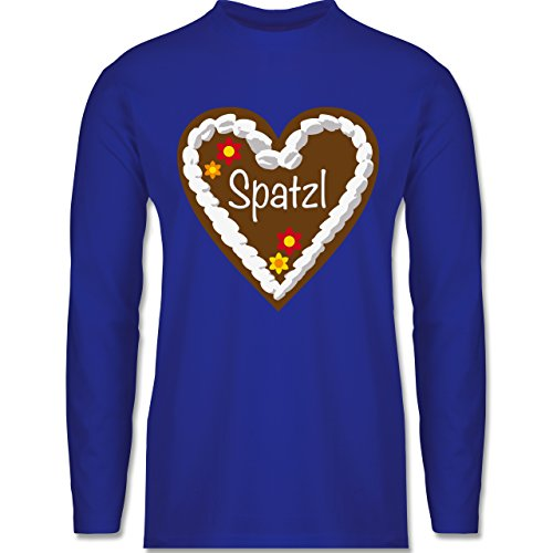 Oktoberfest Herren - Lebkuchenherz Spatzl - Longsleeve / langärmeliges T-Shirt für Herren Royalblau