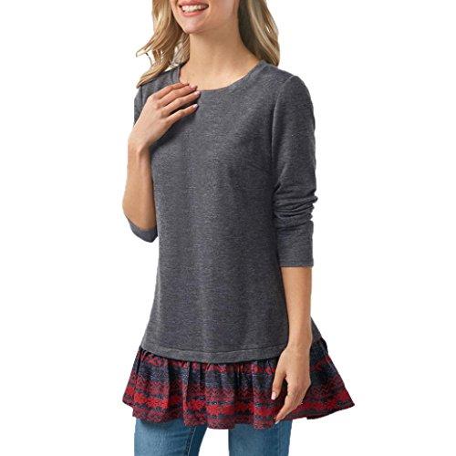 Hevoiok Damen Mode Sexy Freizeit Frühling O Hals Hemdbluse Spitzensaum Oberteile hinter der Split Nähen Langarm Bluse Tops T-Shirt (Grau, 2XL) (Dolman Lange)