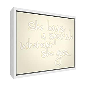 Feel Good Art Eco-Printed and Framed Nursery Canvas with solid White Wooden Frame (34 x 24 x 3 cm, Small, Cream, She Leaves a Sparkle Wherever She Goes)