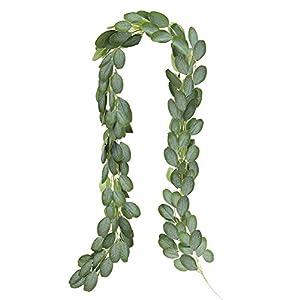 CQURE Künstliche Efeugirlande, Efeugirlande, künstliche Blätter, künstliche Pflanzen, zum Aufhängen, für Hochzeit, Party, Garten, Wanddekoration, 1 Pack- Eucalyptus Garland
