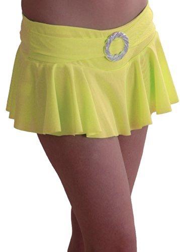 EyeCatch TM - Cynthia Damen stretch Mini Rock geriffelt mit Gürtelschnalle in Neonfarben Gelb M/L
