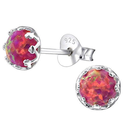 EYS JEWELRY Damen Ohrstecker rund 925 Sterling Silber synthetischer Opal rot 5 mm Ohrringe im Geschenk-Etui