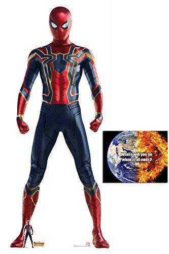 (BundleZ-4-FanZ by Starstills Spider-Man Iron Spider Suit Avengers Infinity War Lebensgrosse und klein Pappaufsteller mit 25cm x 20cm foto)