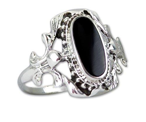 Ring Gothic Black Ornament 925er Sterling Silber mit schwarzem Onyx (59 (18.8))