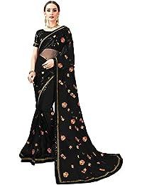 Glory Sarees Women's Net Saree (Iconic104_black net_black)
