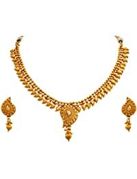 JFL - Traditional And Ethnic One Gram Gold Plated Kaerie Designer Necklace Set With Earring For Women And Girls.