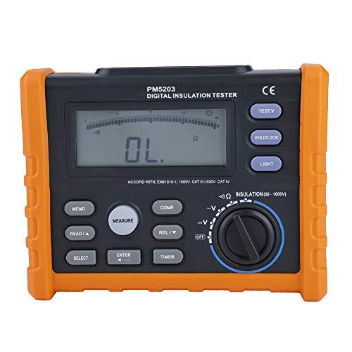 Misuratore di Resistenza, PEAKMETER PM5203 Megaohmmetro Multimetro a Resistenza Isolamento Digitale Tester di Terra Calcolo Automatico Funzione di Temporizzazione di Scarica Automatica