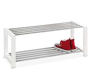 rastrelliera per scarpe ulfi 1 in metallo cromato e legno bianco casa e cucina. Black Bedroom Furniture Sets. Home Design Ideas