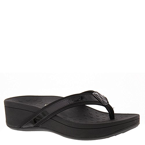 VIONIC Women's High Tide Arch Support Thong Wedge Sandal Black 6 M US -
