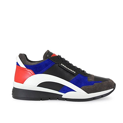 DSQUARED2 KIT LEATHER AND WILDLEDER BLAU/ROT SNEAKER S17SN437-528-M227-45 Herren Ganzjährig (Ferrari Suede Sneakers)