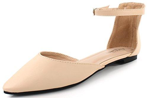 AgeeMi Shoes Damen Spitze Zehe Flach Pumps Knöchelriemchen mit Schnalle Sommer,EuD21 Aprikosen Farbe 41