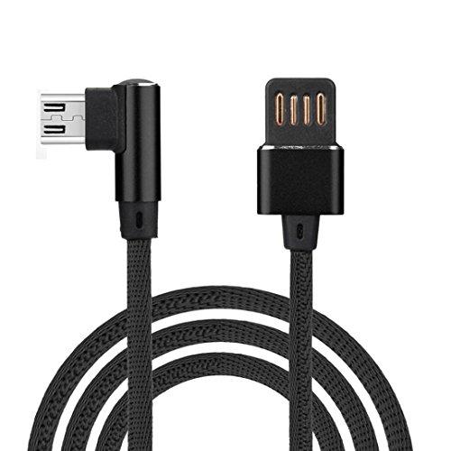 Tresse Coudé Cable Micro USB 1M Synchro Nylon Tressé Rapide Chargeur Câble de Chargeur (Noir)