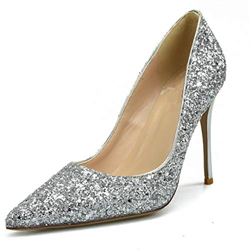 Mode Dorsay Pumps für Frauen 6 cm Hohe Stiletto Heels Slip On Nachtclub Schuhe für Damen Glitter Kunstleder (Color : Silber, Size : 39 EU) ()