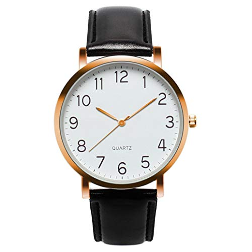 EARS Armbanduhr Herrenuhr Leder Unisex Einfache Business Mode Leder Quarz Armbanduhr Digitale Paaruhr aus Damen-Armbanduhr Easy Reader Braun Leder Wrist Watch (Gold) -