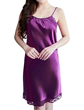 Sidiou Group Babydoll Lingerie Camicia da Notte Corta Donna Sexy Chemise Vestito Dalla Cinghia Girocollo Lace...