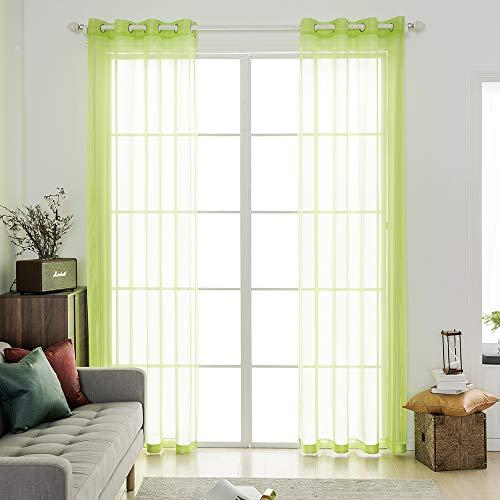 MIULEE 2 Pannelli Tende Voile Leggeri Trasaprenti Decorative con Occhielli per Soggiorno e Camera da Letto 140x260cm Verde Chiaro