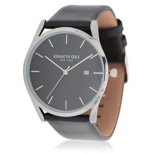 Kenneth Cole Men's Black Leather Band Steel Case Quartz Watch KC50337006