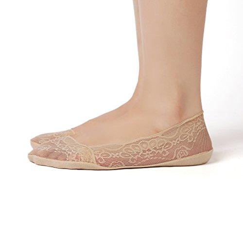 Flache Frauen Ganzen Schuhe (Damen Füßlinge Spitze Unsichtbare Ballerina Socken mit Rutschfest Silikon(4Paar ein Pack) (EU 36-42, 2Beige+2Schwarz))