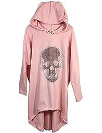 Damen Kapuzen Sweatshirt Kleid mit Kordelzug und Totenkopf aus funkelnden Nieten, Vokuhila, MADE IN ITALY