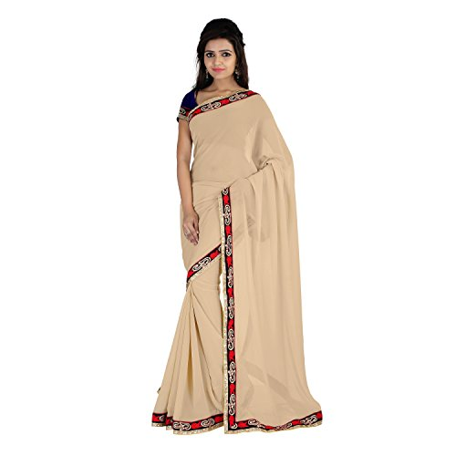Florence Beige Chiffon Embroidered Saree  available at amazon for Rs.983