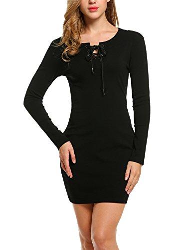 Angvns donna maglia vestito mini abito bodycon a maniche lunghe con allacciatura manica lunga girocollo misto cotone zauberschwarz 44