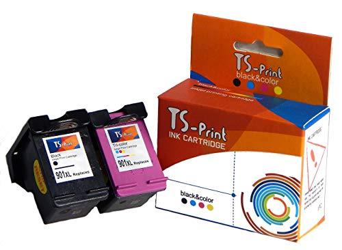 TS-Print 2er-Set Multipack Druckerpatronen ersetzt HP 901-XL (20ml XXL) schwarz Black bk + HP-901 XL (18ml XXL) DREI-farbig tri-Color