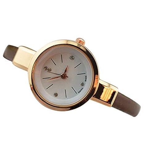 Sanwood Women Ladies Thin Faux Leather Strap Wrist Watch (Coffee)