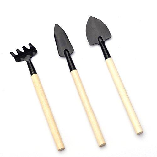 GRT Kleine Pflanze im Garten Mini Holz Gadget dreiteiligen set, kleine Schaufel/Rake/Spaten, für kleine Pflanze Topfpflanzen Blume Mini Gadget Spielzeug