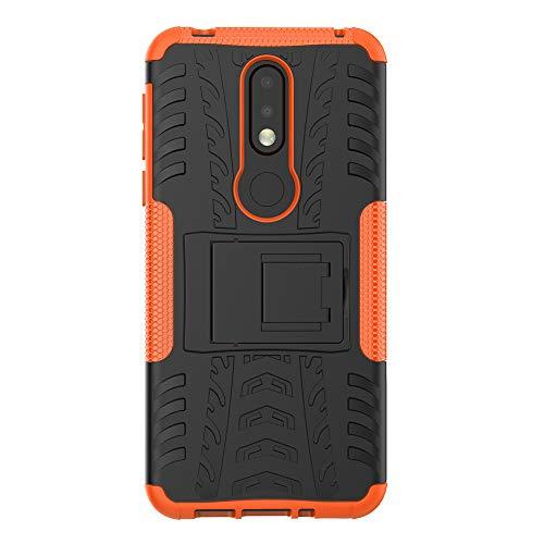 COVO® Nokia 7.1 Plus-Hülle Tough Hybrid Armor Case,Diese Handyhülle Anti-Wrestling Travel Essential Faltbare Halterung für Nokia 7.1 Plus(Orange)