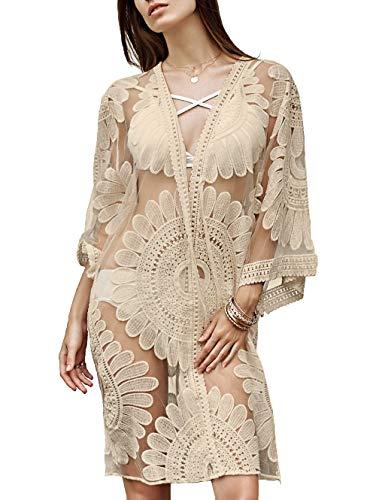 Floral Crochet Lace Badeanzug Vertuschungen für Frauen, Strand Vertuschungen Kimono Cardigan Kleid, Frauen Sexy Kaftan Badeanzug (Aprikose, S(EU 32-36)) (Crochet Kleider Lace Frauen Für)
