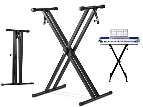 Fineway @ livivo faltbar verstellbar Double X Rahmen Tastatur Ständer mit Trägern Musik schwarz