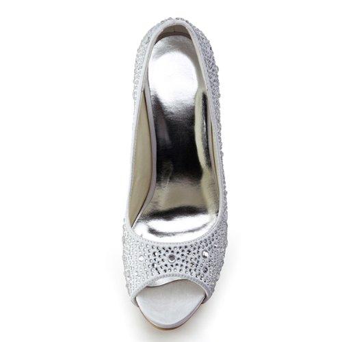 ElegantPark EP11066-IP Escarpins Femme Satin Bout Ouvert Aiguille Plateforme Diamant Chaussures de mariee Bal Blanc