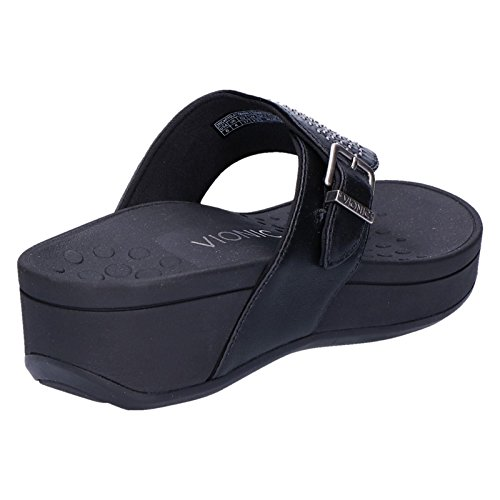 Vionic Womens Pacific Capitola Leather Sandals Black