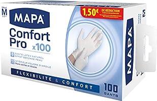Mapa  Gants en latex Confort Pro  Boîte de 100 Gants  Taille 7/M
