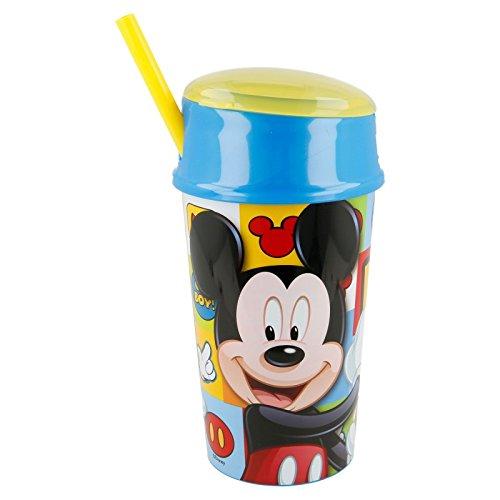 echer Kunststoff mit Deckel und Strohhalm, Tasche Snack 400ml, Stor 22001) (Mickey-maus-party Becher)