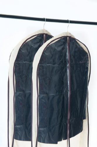 Home Zone 2-er Multipack von atmungsaktiven Kleidersäcken/Kleiderschutzhüllen mit Bambusfasern und Seitenfalten - Coffe & Cream Oberfäche - 2 * Extra Groß (160cm * 60cm * 18cm)