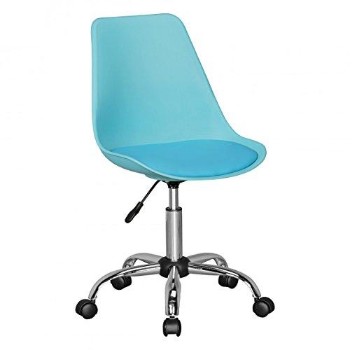 FineBuy HAINAN | Drehstuhl mit Kunstleder-Sitzfläche Blau | Design Drehsessel Wartezimmerstuhl ist höhenverstellbar | Schreibtischstuhl mit Rückenlehne | Bürostuhl/Jugendstuhl mit Schalensitz