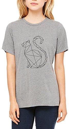 Minimalistic Sphinx Cat Graphic Women's T-shirt Gris