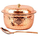 Indian Art Villa Hammered Steel Copper Casserole Bowl With Lid & 1 Serving Spoon,Set Of 2 Pieces