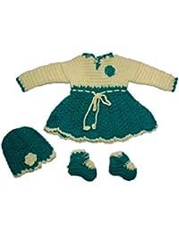 CutiePie Collections Handmade Woolen Frock Cum Sweater Set(0-6 Month Baby Girl)