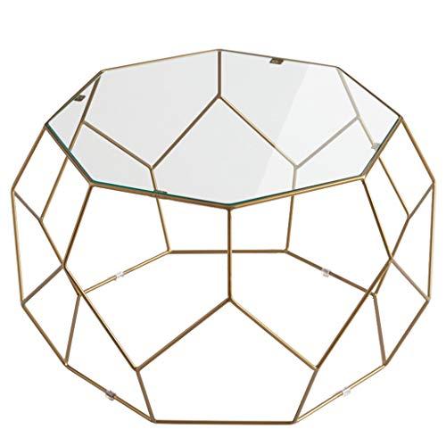 Table Basse en Fer forgé créative, Plateau en Verre trempé Transparent, Bords Lisses, écurie, utilisé dans Le Restaurant de l'hôtel Home Living Room, Or (Taille: 60 × 60 × 43 cm)