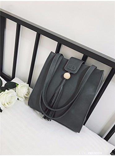 Die Neue Koreanische Mode Handtaschen Retro - Casual Tassel Handtasche Umhängetasche Alle Mit Einfachen Charakter,Gray gray