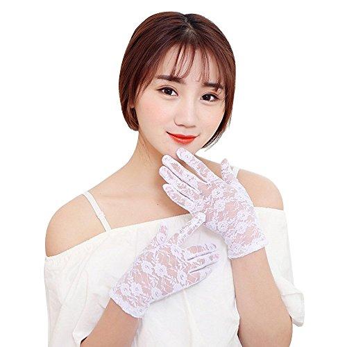 Handschuhe Kurzes Kleid (Eizur 1 Paar Sommer Frauen Dame Girl Sexy Lace Floral Handschuhe kurz Sun UV-Schutz Proof Thin elegante kurze Handschuhe Hochzeit Handschuhe für Kleid, Fahren,)