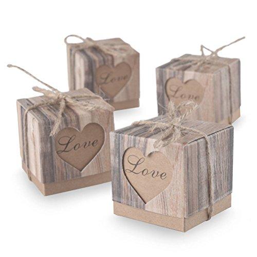Pixnor kraft rustica-scatole per caramelle, matrimonio shabby chic iuta vintage regalo scatole un favore matrimonio favori-confezione da 100pz.