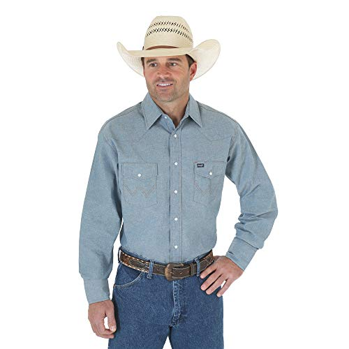 Wrangler Men's Authentic Cowboy Cut Work Western Long-Sleeve Firm Finish Shirt,Medium Blue Chambray,17 34 -