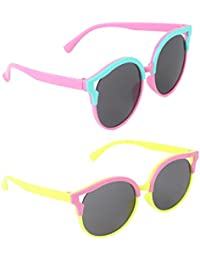 Stol'n Kids Round Sunglasses Combo Pack Of 2 Pieces For Girls/Blue And Pink/Pink And Yellow/Gift Pack