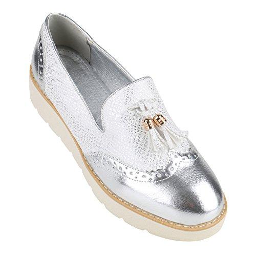 Damen Loafers Quasten Glitzer Slipper Profilsohle Dandy Geek Silber Metallic