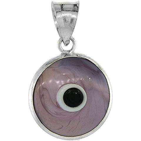 Revoni-Bracciale in argento Sterling, colore: viola con pendente occhio greco in. 5/8 mm (16)