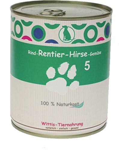 6 x400 g - Wittis Deftig-Fleischgerichte für Hunde - garantiert OHNE künstliche Vitamine!!- Rind - Rentier - Hirse - Gemüse - Dosenfutter ohne Zusätze