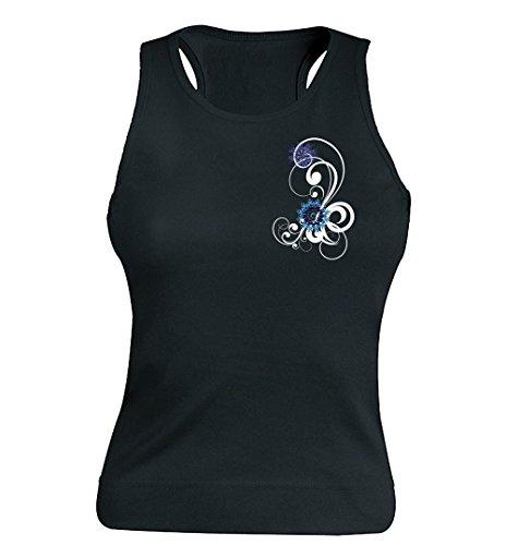 """T-shirt Femme 100% Coton - """"Ptite fleur bleu"""" - Sans Manches Noir"""